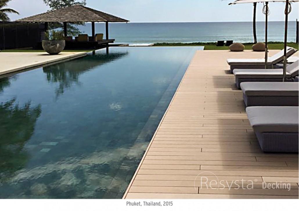 Gỗ sàn hồ bơi trong thiết kế hồ bơi